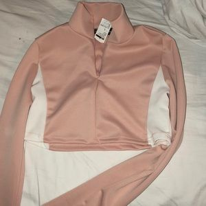 Pink Cropped Athletic half zip top